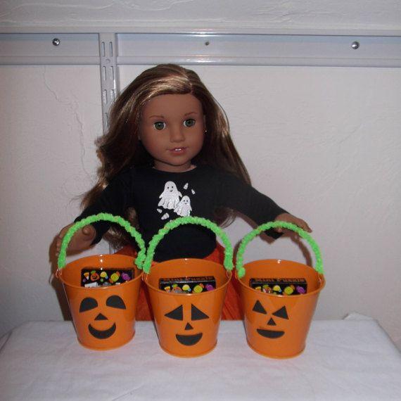 Halloween Trick or Treat Pumpkin Pail+fun goodies-Sized for American Girl Dolls