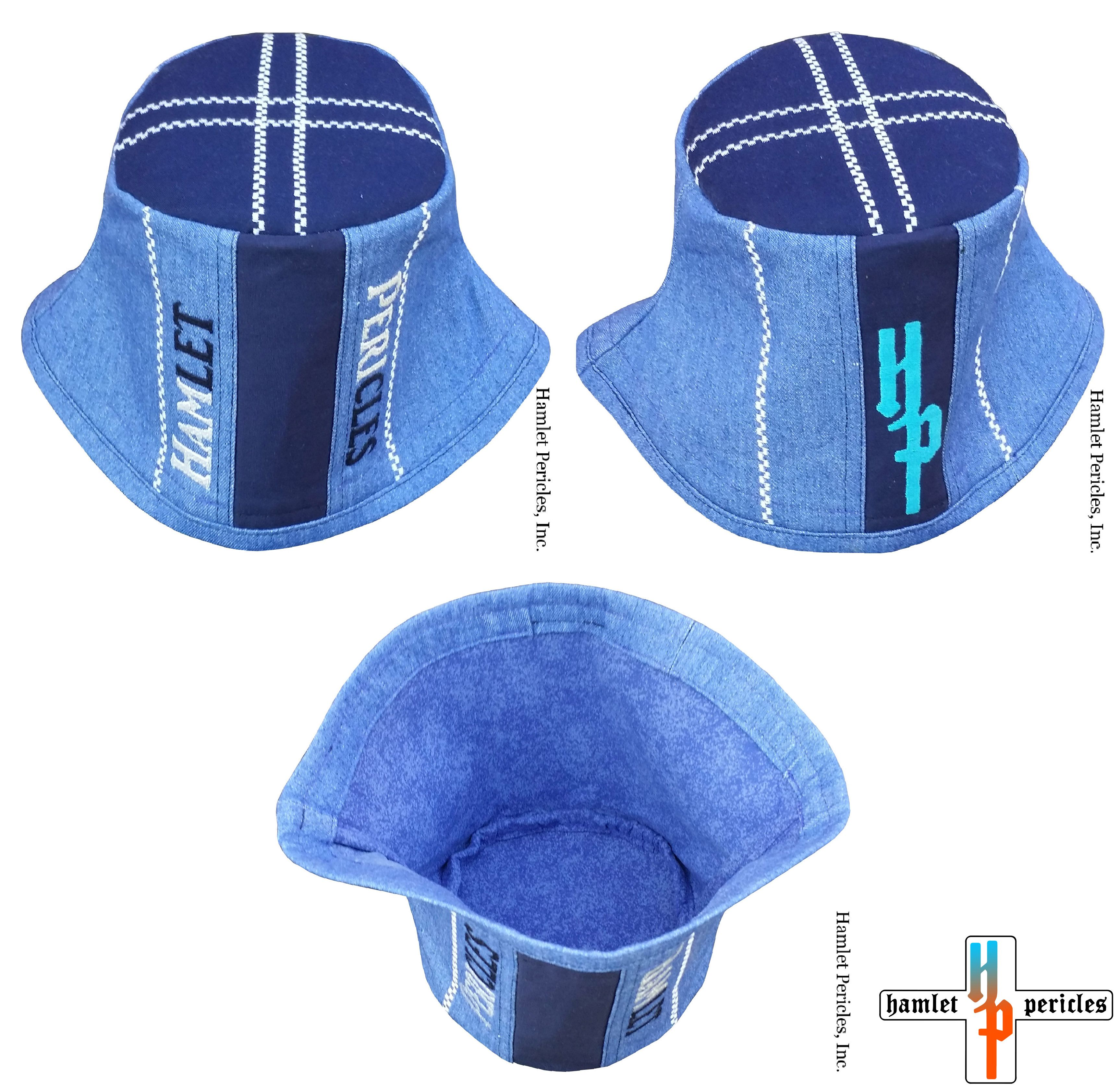 bf22ece39cc Royal Blue Denim + Navy Blue Poly-cotton Trigger Bucket Hat via Hamlet  Pericles