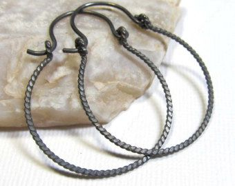 Oxidized Sterling Silver Hoops - Twisted Circle - Small (35mm) Non-Interchangeable