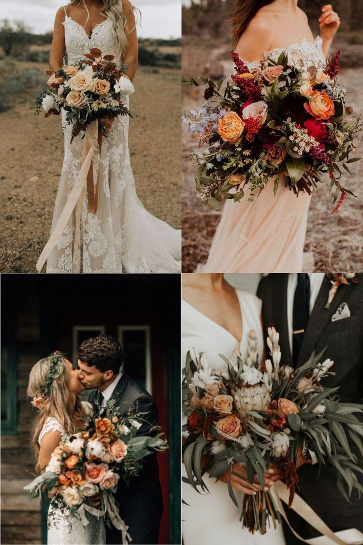 20 Copper Burnt Orange Bohemian Wedding Bouquets in 2020