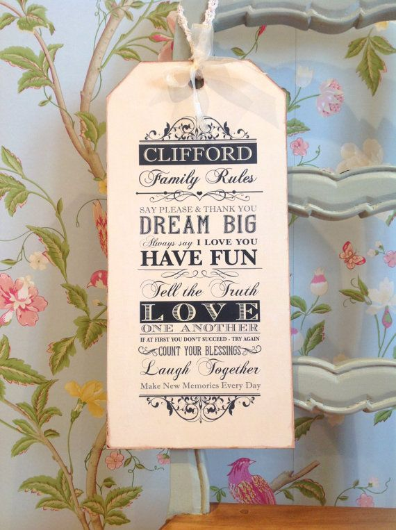 Family Rules Sign  Kitchen Sign  Luggage Tag by SugarPrintFairy, £17.00