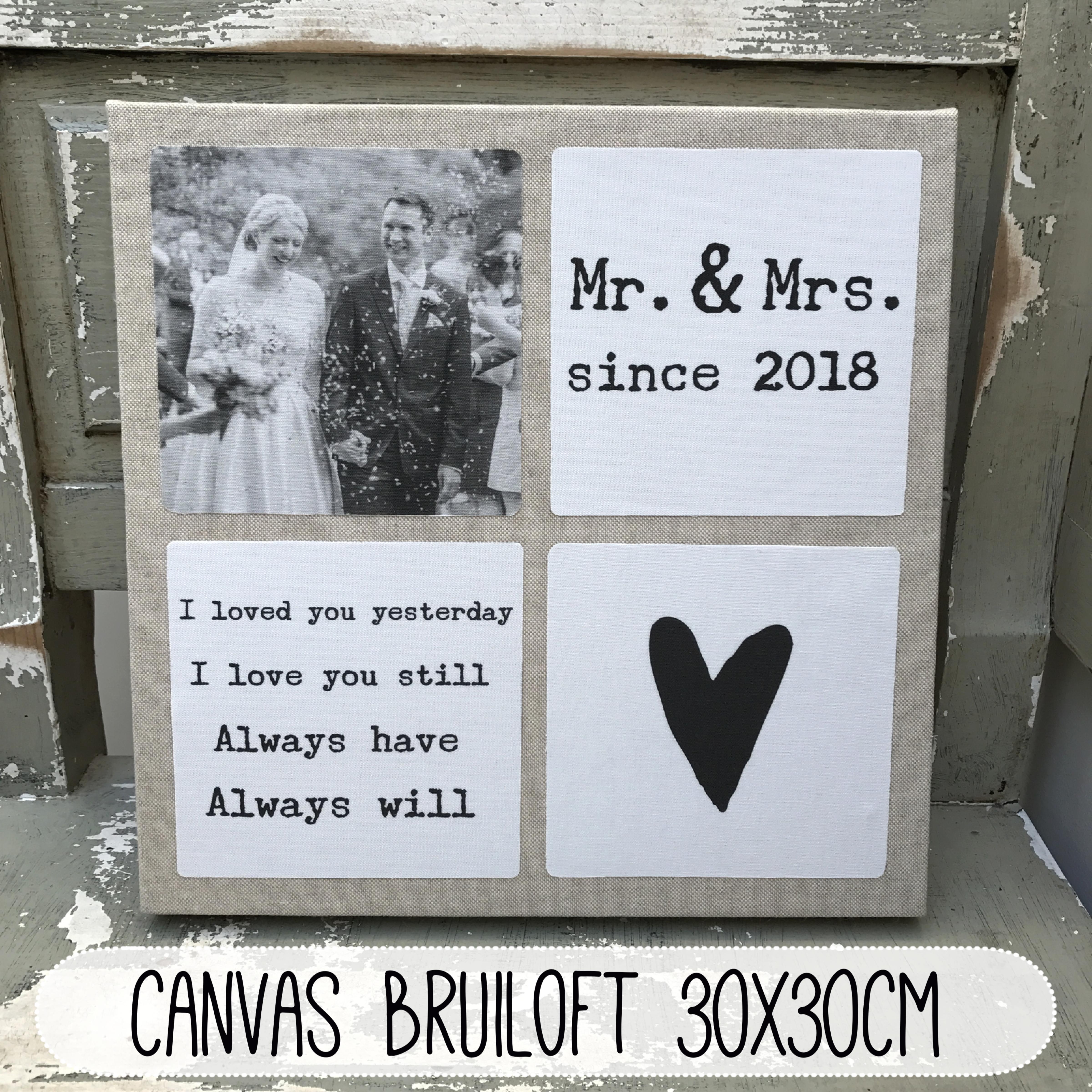 Canvas Van Stof Voor Bruiloft En Jubileum Cadeau Huwelijk