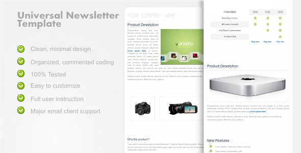 Universalnewsletter  Clean Email Template  Newsletter Templates