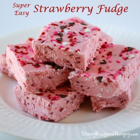 a Super Busy Day | Super Easy Strawberry Fudge from Dizzy, Busy and Hungry.
