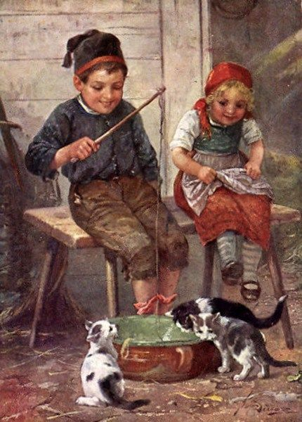 Children Playing With Cats