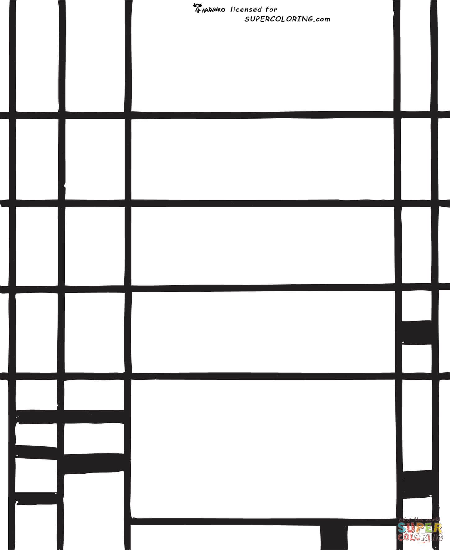 Composition 10 by Piet Mondrian coloring page | Free ...