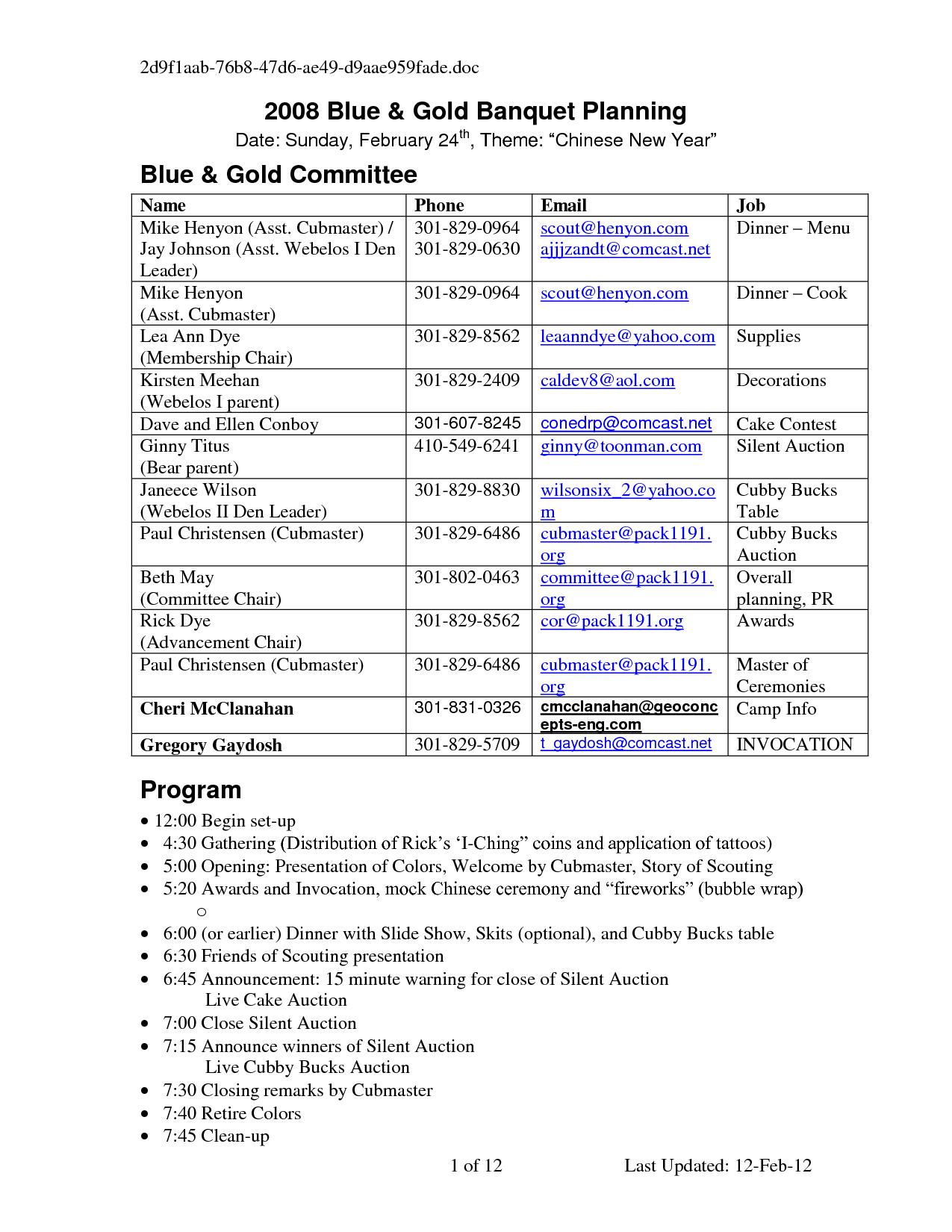 blue and gold program template – Banquet Agenda Template