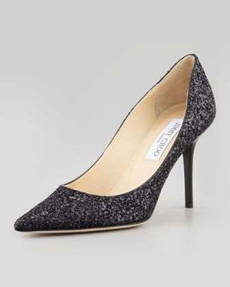00f3b69da78 Agnes Glitter Pointed-Toe Pump, Black | SHOES | Pointed toe pumps ...