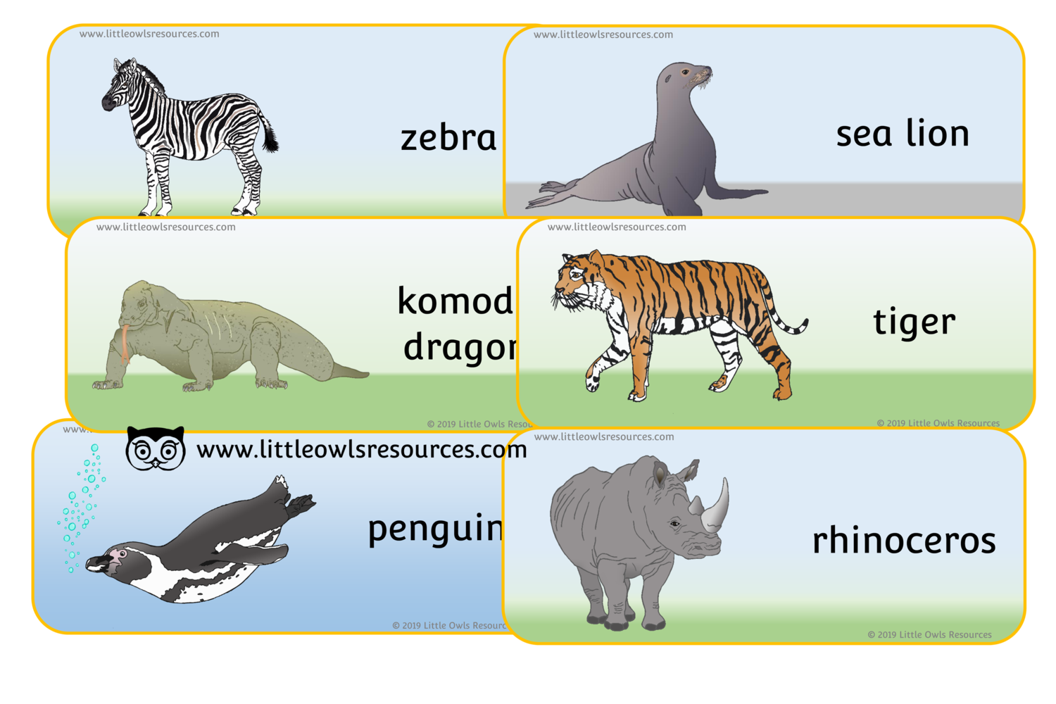FREE Zoo Animal Word Cards printable Early Years/EY (EYFS