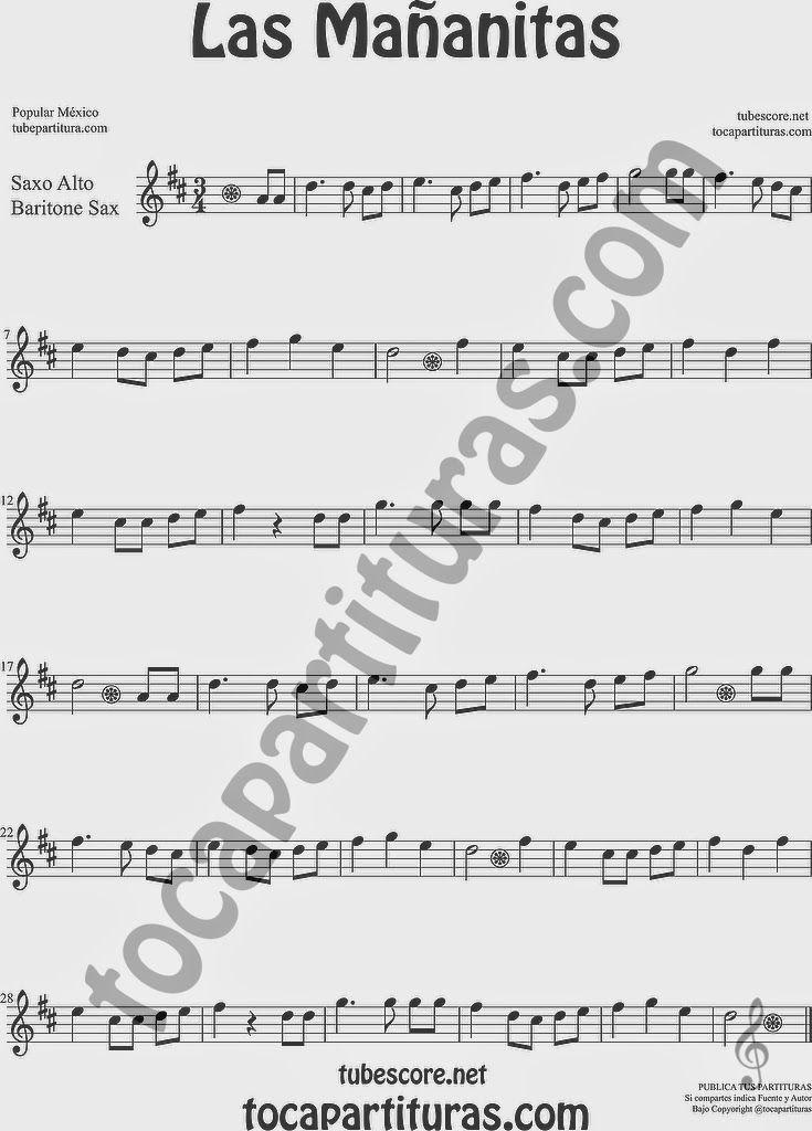 All Music Chords las mananitas trumpet sheet music : Las+Mañanitas+Partitura+de+Saxofón+Alto+y+Saxo+BArítono+Sheet+ ...
