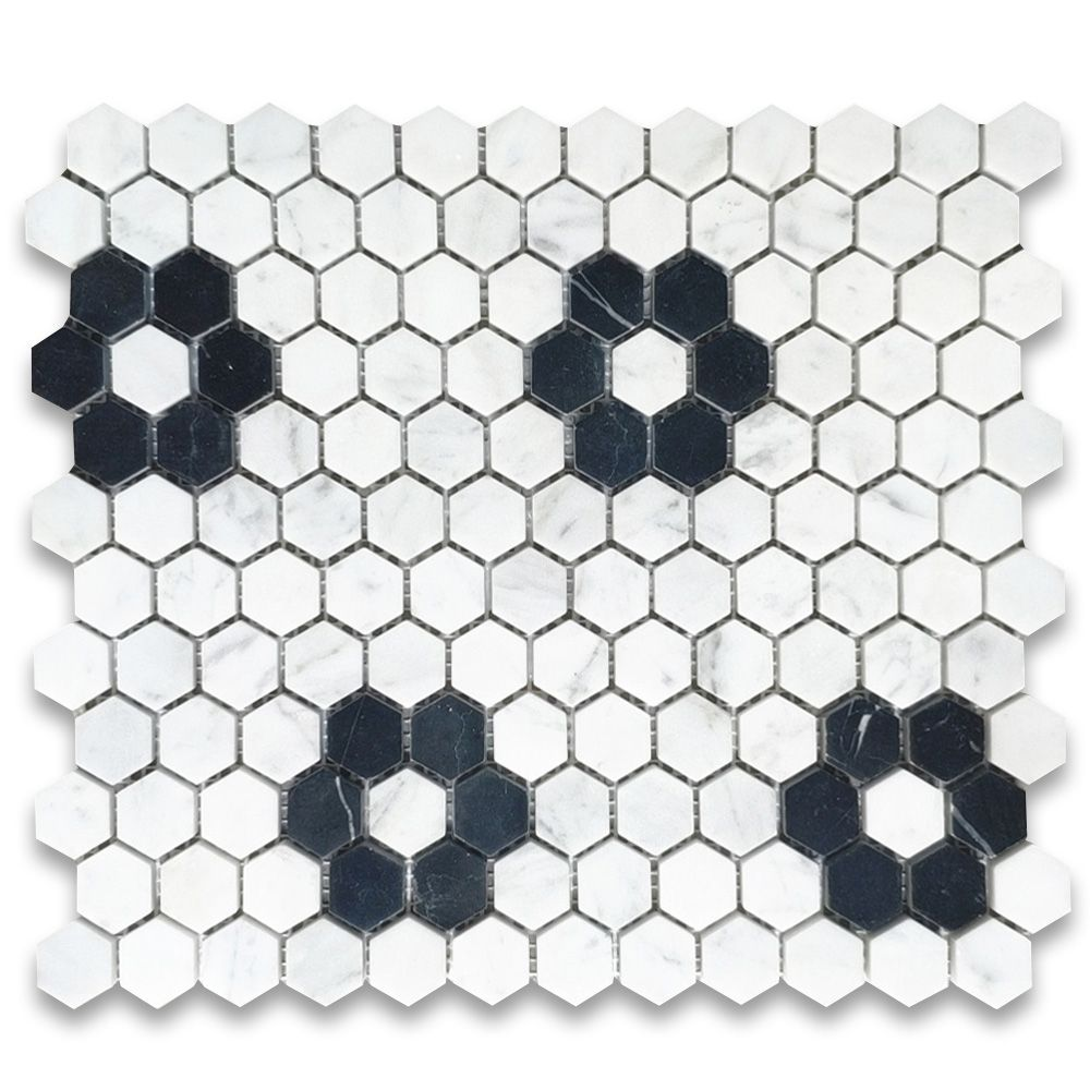 Carrara White Marble 1 Inch Hexagon W Black Marble Rosette Pattern Mosaic Tile Polished In 2020 White Mosaic Tiles White Marble Mosaic Black Hexagon Tile