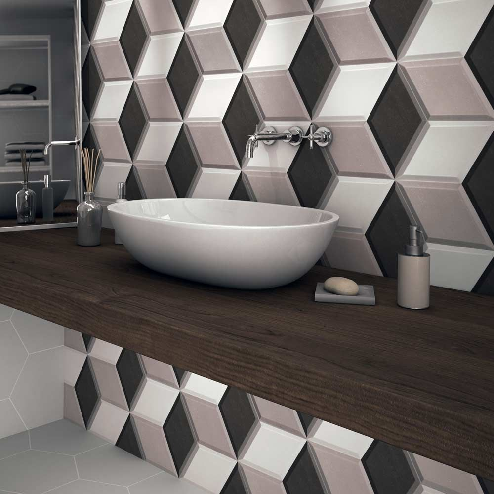 Geometric bathroom splashback using eye catching geometric hexagon porcelain hexa cube grey tiles from the hexa cube tiles range by envy dailygadgetfo Image collections