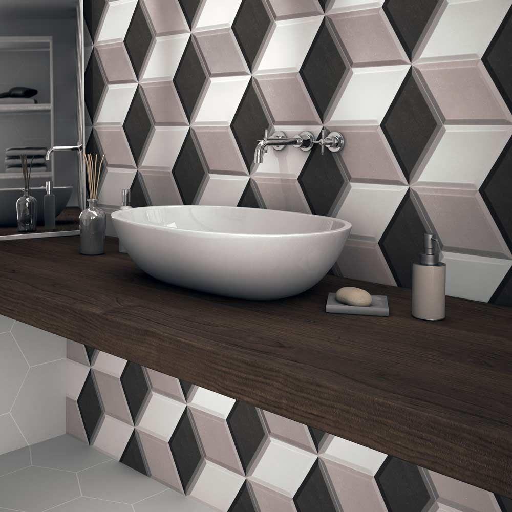 Hexa Cube 3d Grey Tiles Hexagon Tiles Grey Tiles Modern Tiles