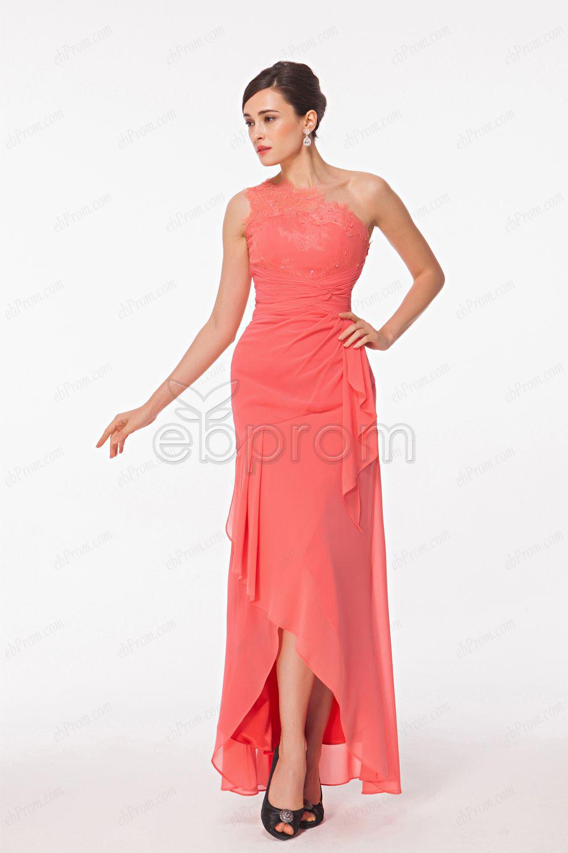 Scalloped lace bright pink chiffon high low evening dress grad