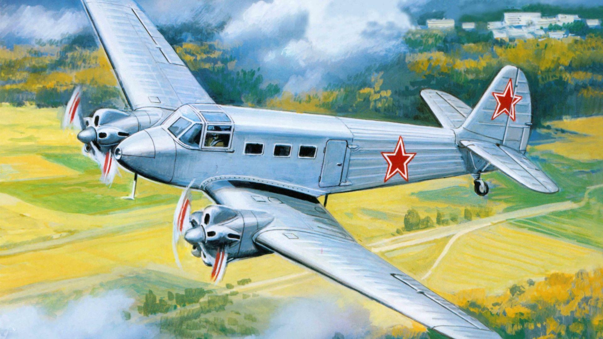 Картинка самолет, транспортный, арт, самолет, советский ...