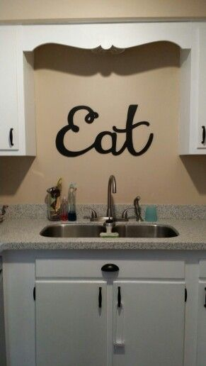 Eat sign by Sara Ren Designs. Perfect wall decor for the kitchen! Here's her shop: www.facebook.com/sararendesigns