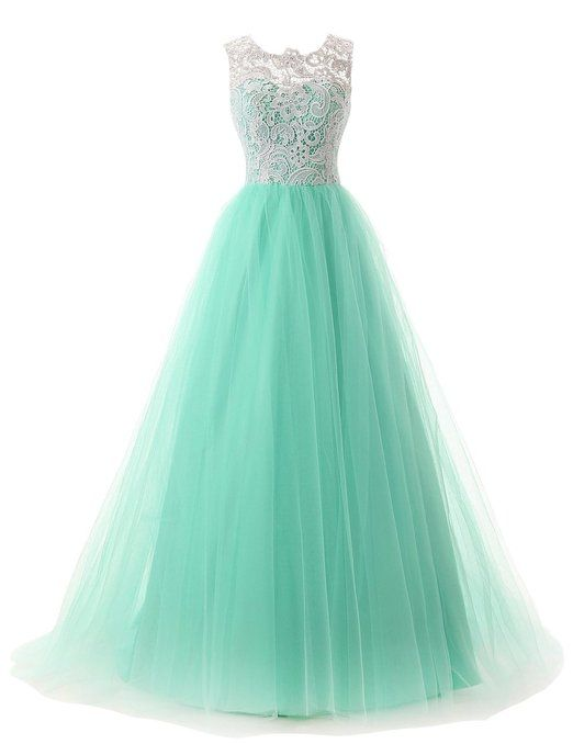 Dressystar Long Lace And Tulle Prom Evening Wedding Dress Buttons