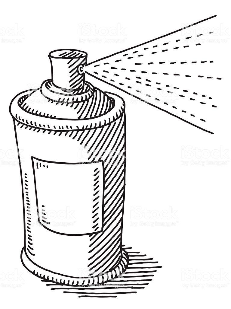 Hand Drawn Vector Drawing Of An Aerosol Can Spraying Black And White Vector Drawing Drawings Hand Drawn Vector