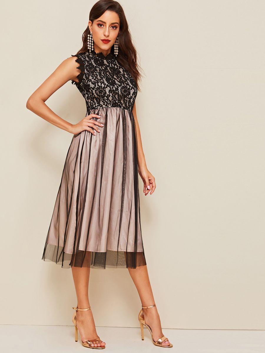 Guipure lace bodice mesh overlay sleeveless dress shein