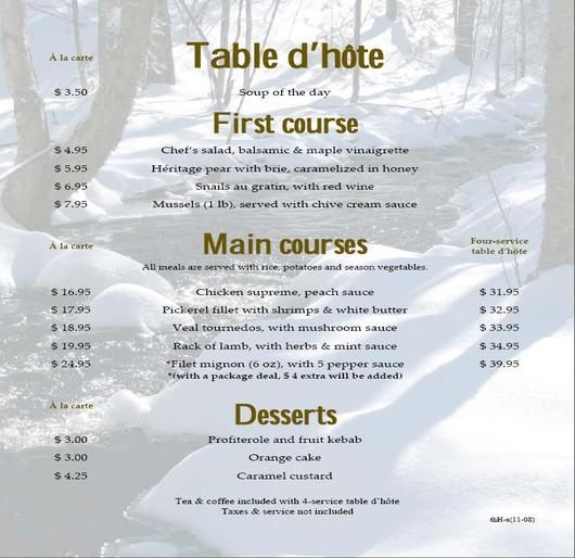 Table Dhote 3 Restaurant Menu Formats Pinterest