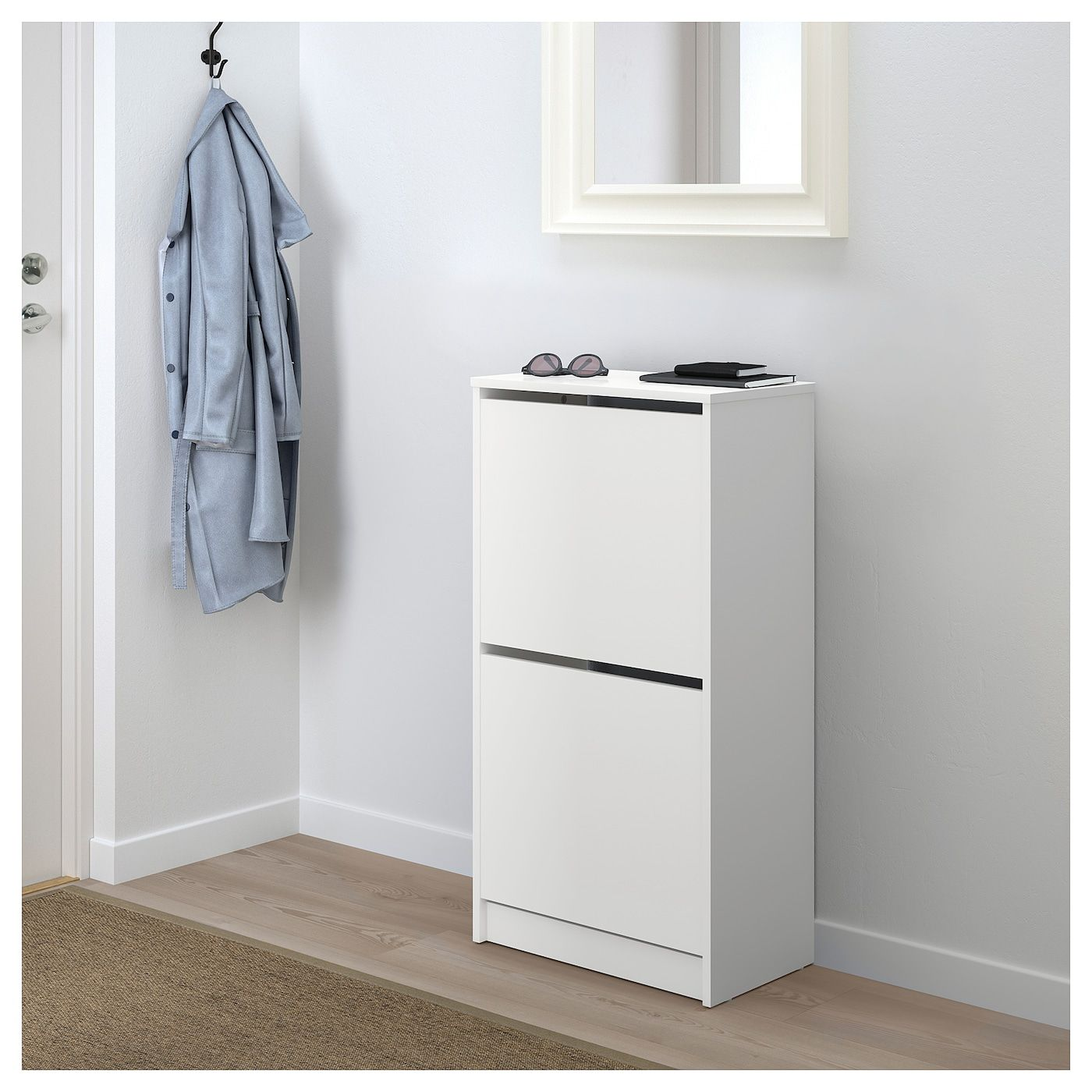 Ikea Bissa White Shoe Cabinet With 2 Compartments Shoe Cabinet