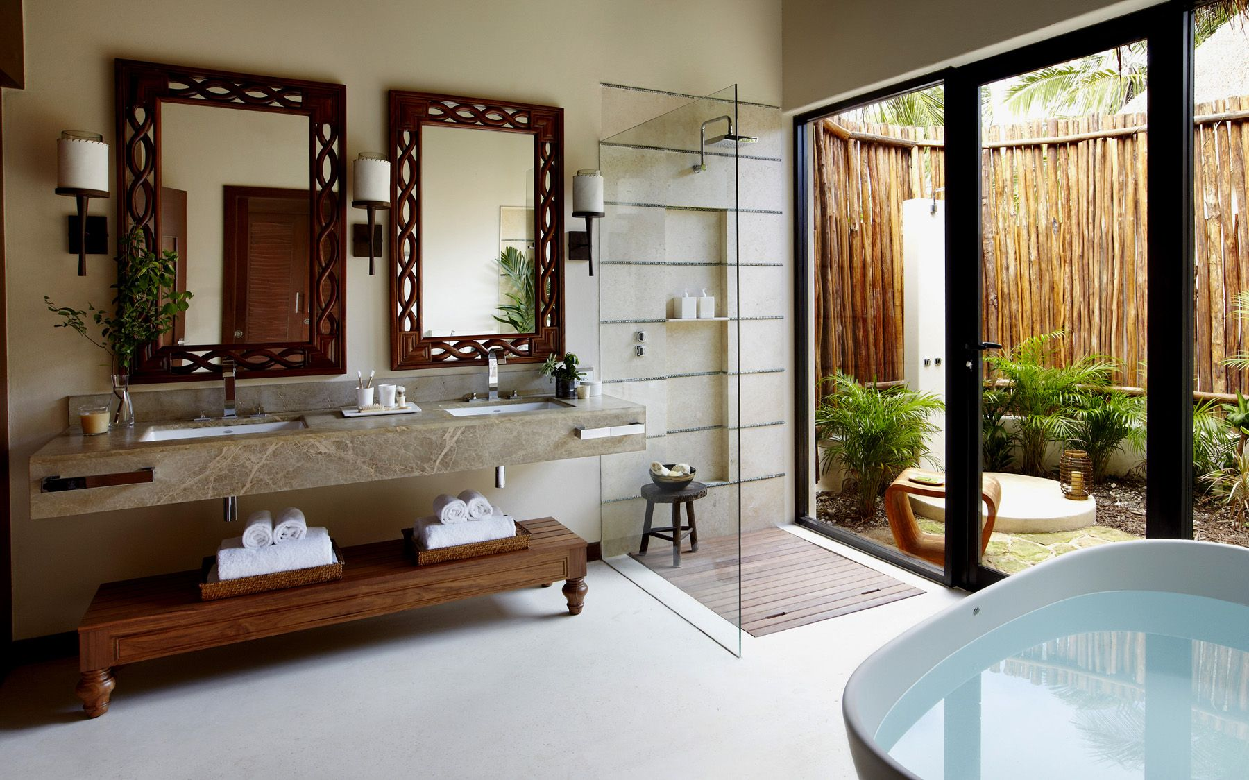 The Bathroom With Indoor Outdoor Shower Viceroy Hotel In Riveria Maya Mexico For Tampa