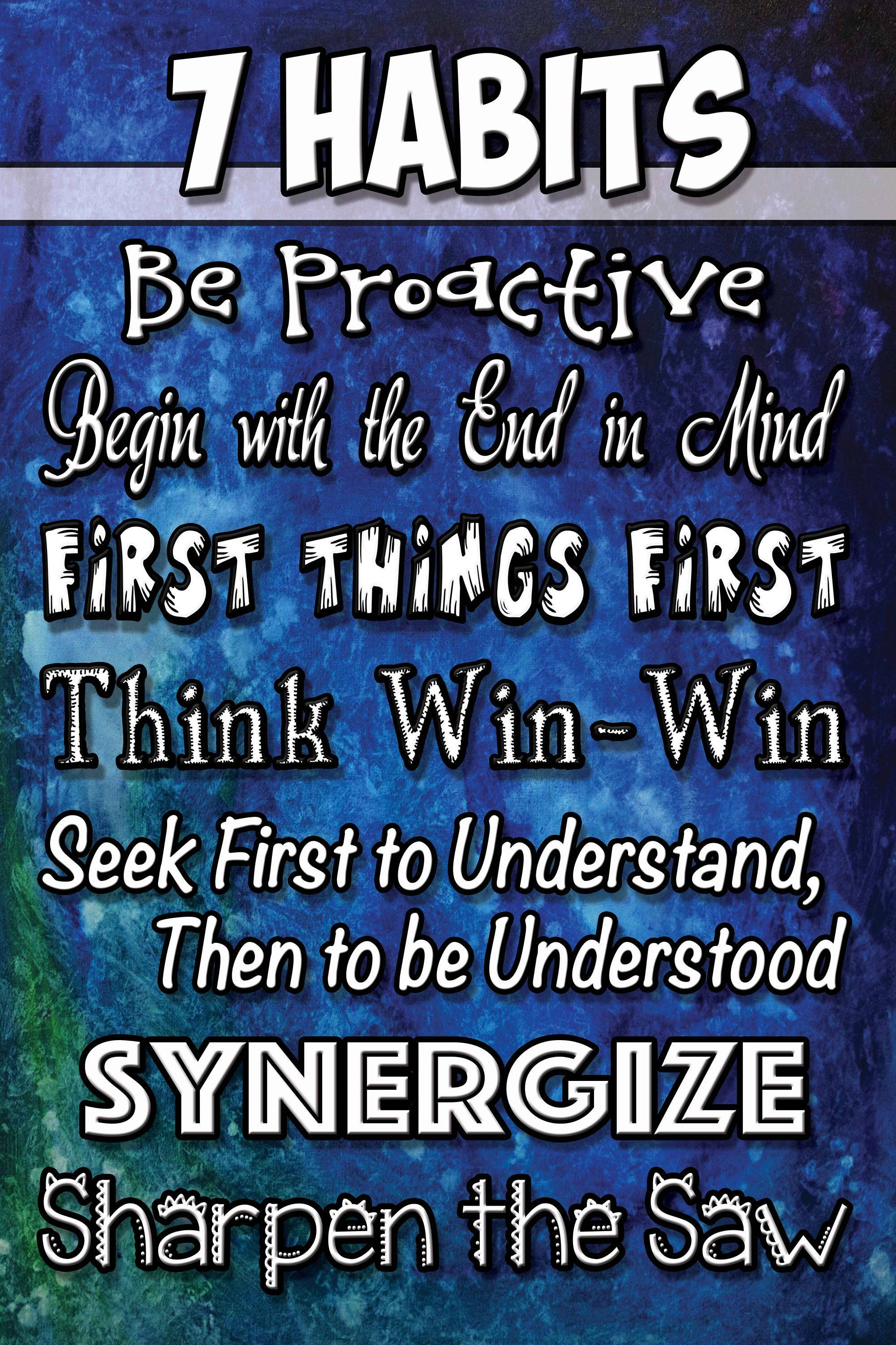 20x30 Blue Amp Green Poster With All 7 Habits This Instant