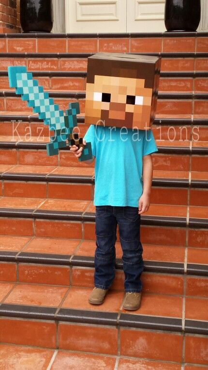 My son\u0027s Minecraft Steve Costume Book Week costume