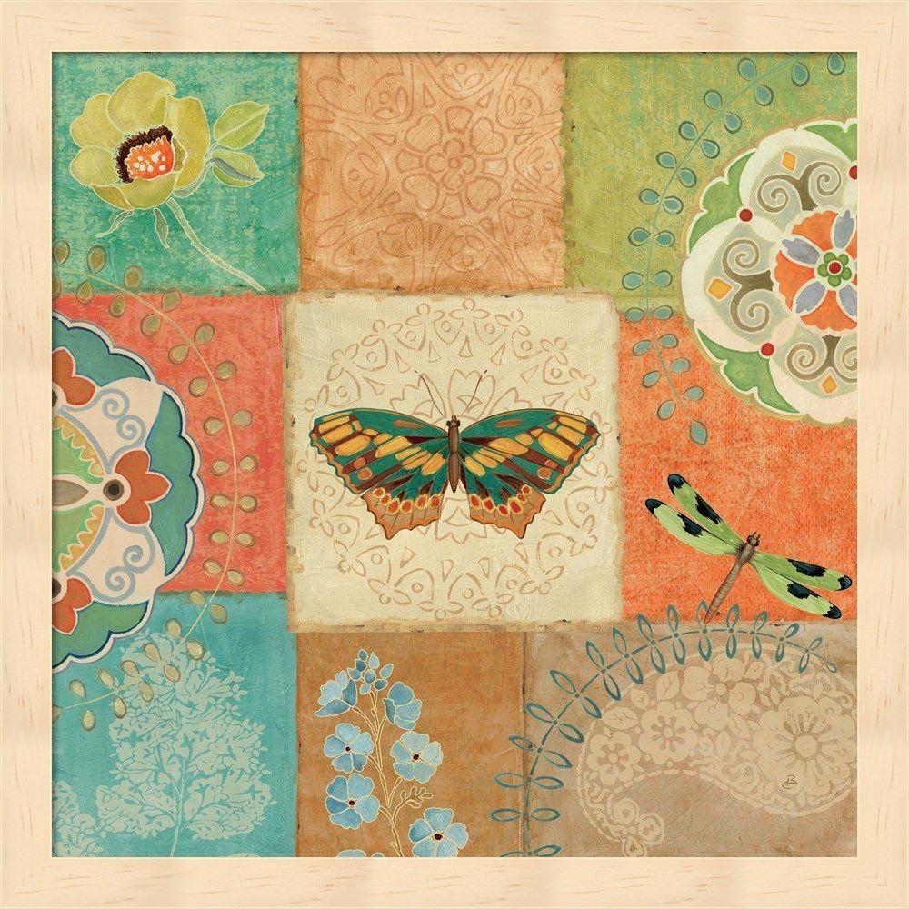 Daphne Brissonnet \'Folk Floral IV Center Butterfly\' Pink Frame Wall ...