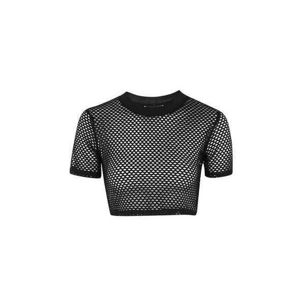 8b1762e726d TopShop Petite Airtex Crop Tee ($20) ❤ liked on Polyvore featuring tops, t- shirts, crop top, black, sport t shirt, sport crop top, polyester crop tops  and ...
