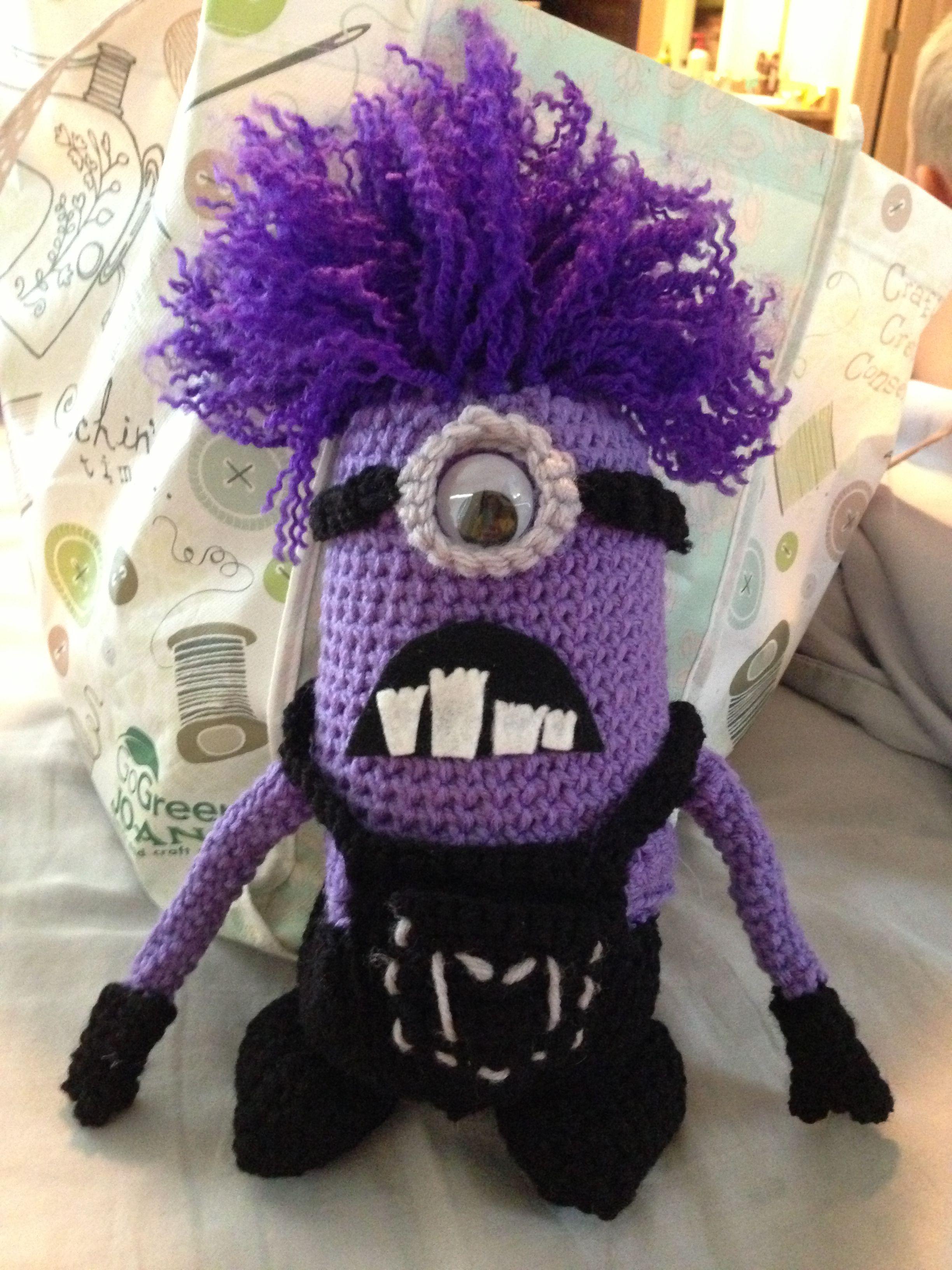 Purple crochet minion - $40 contact Heather at heatherjmcdonald ...