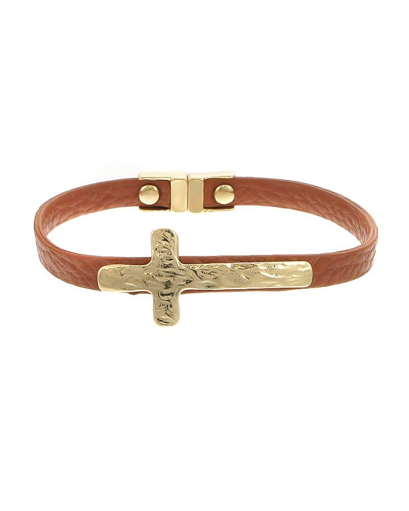 Zbgold brown hammered cross faux leather bracelet designed with