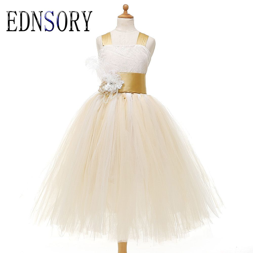 Click to buy ucuc new short aline flower girl dresses bow lace