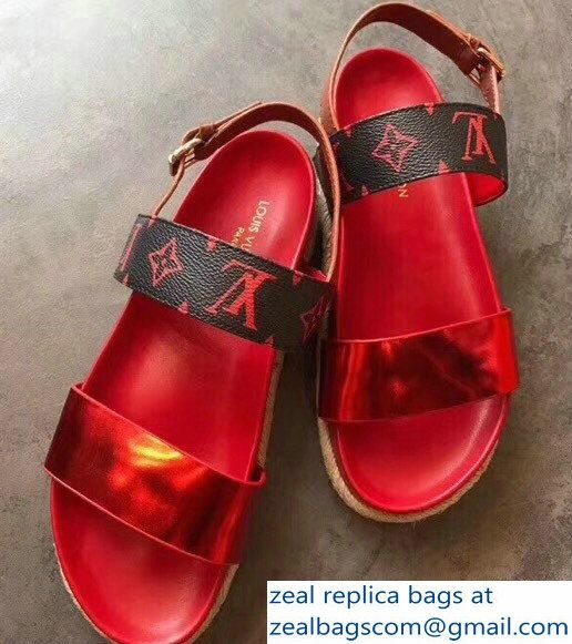 b0c794298259 Louis Vuitton Metallic Calf Leather And Patent Monogram Canvas Odyssey  Sandals Red 2018