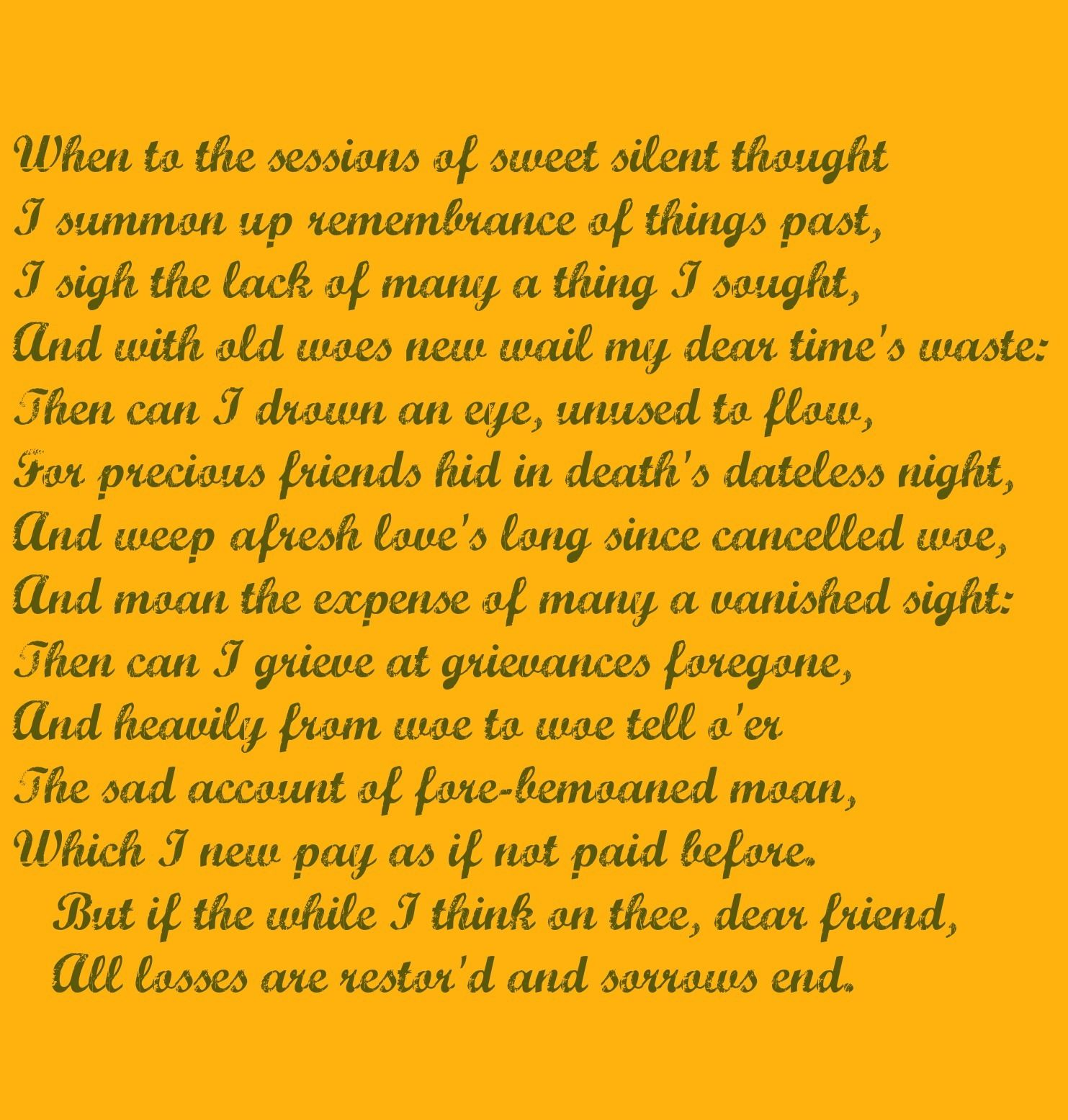 William Shakespeare Sonnet 30 Word Verse Thoughts Meaning Of 61