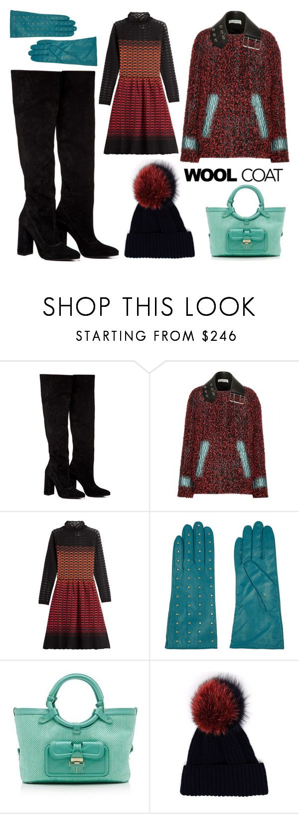 """Aqua + Wool + Winter"" by leiastyle on Polyvore featuring Anouki, Balenciaga, M Missoni, Tory Burch, Jimmy Choo, Inverni, beanie, suedeboots and woolcoat"
