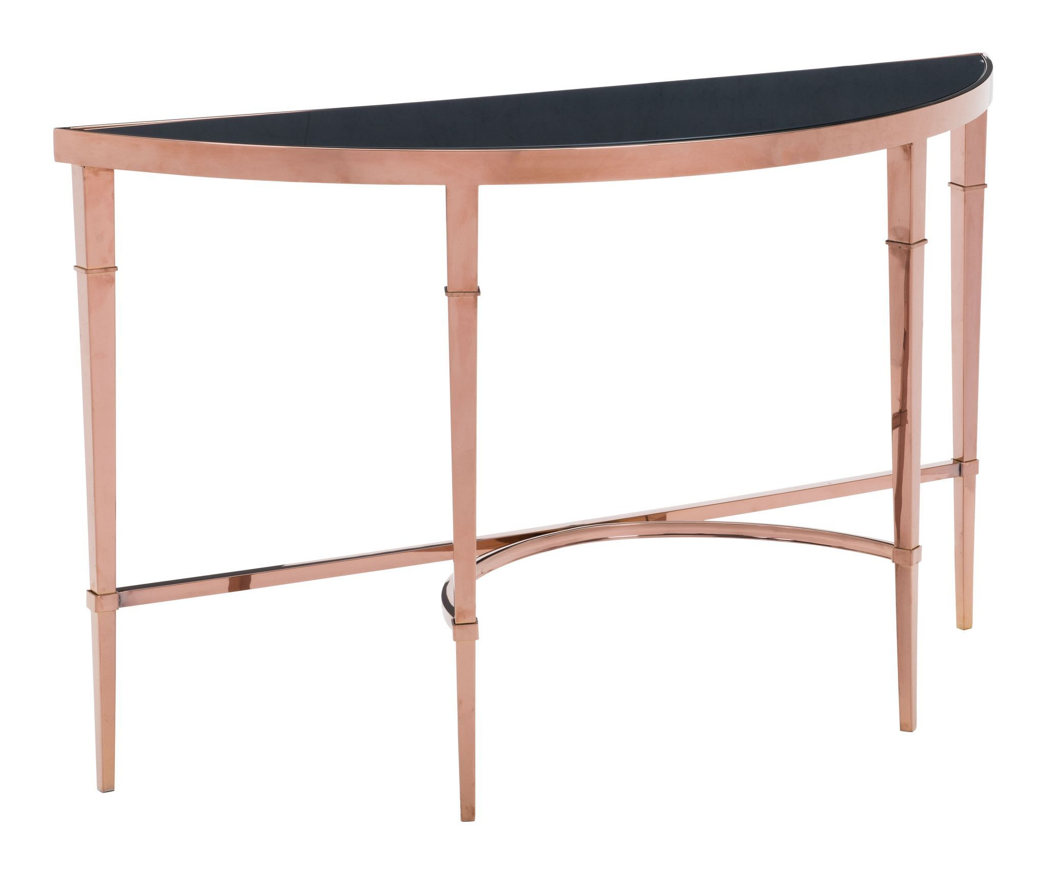 Elite Console Table in Polished Rose Gold with Demilune Black Tempered Glass Top