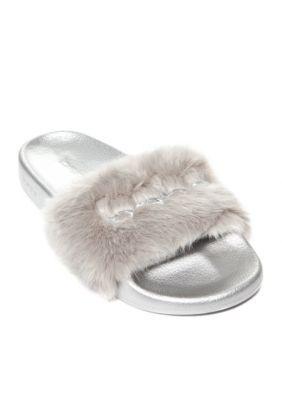 4d9aabc3554 Bebe Women s Furiosa Faux Fur Slide - Gray - 6M