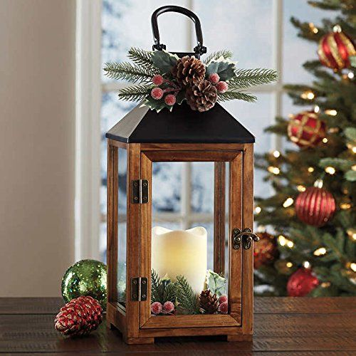 14 5 Holiday Lantern With Decorative Led Candle Christmas