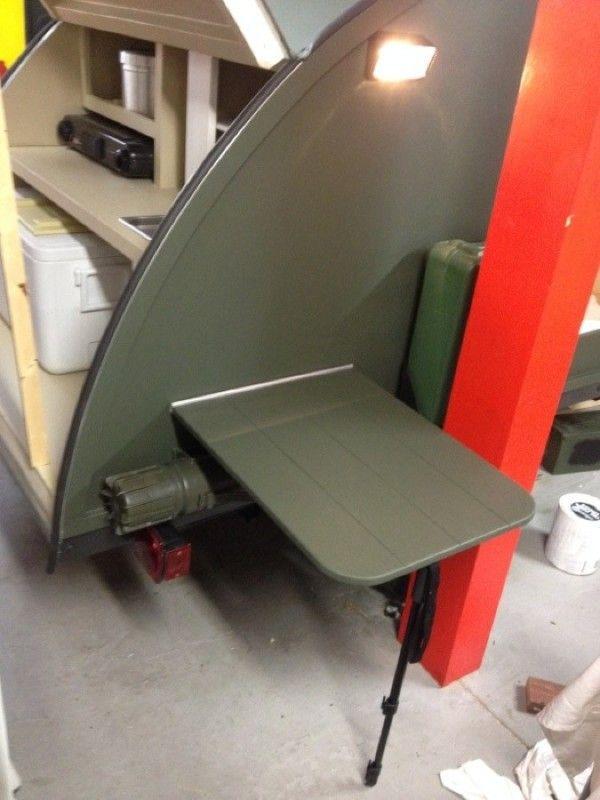 Small Military-Like Teardrop Trailer Built For $2,000