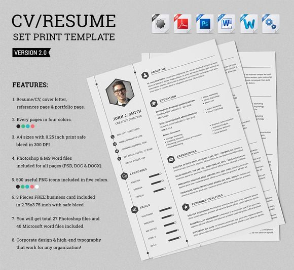 Smart Resume Cv Set  Print Templates Template And Cv Template