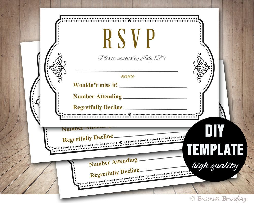 Diy Wedding RSVP Template,Black and Gold Wedding Response
