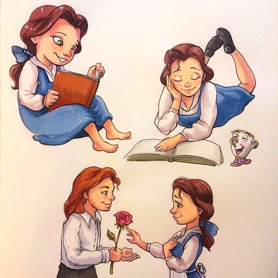 Belle & Adam [feat. Chip as a teacup] (Kids by LornaKelleherArt @Facebook) #BeautyAndTheBeast