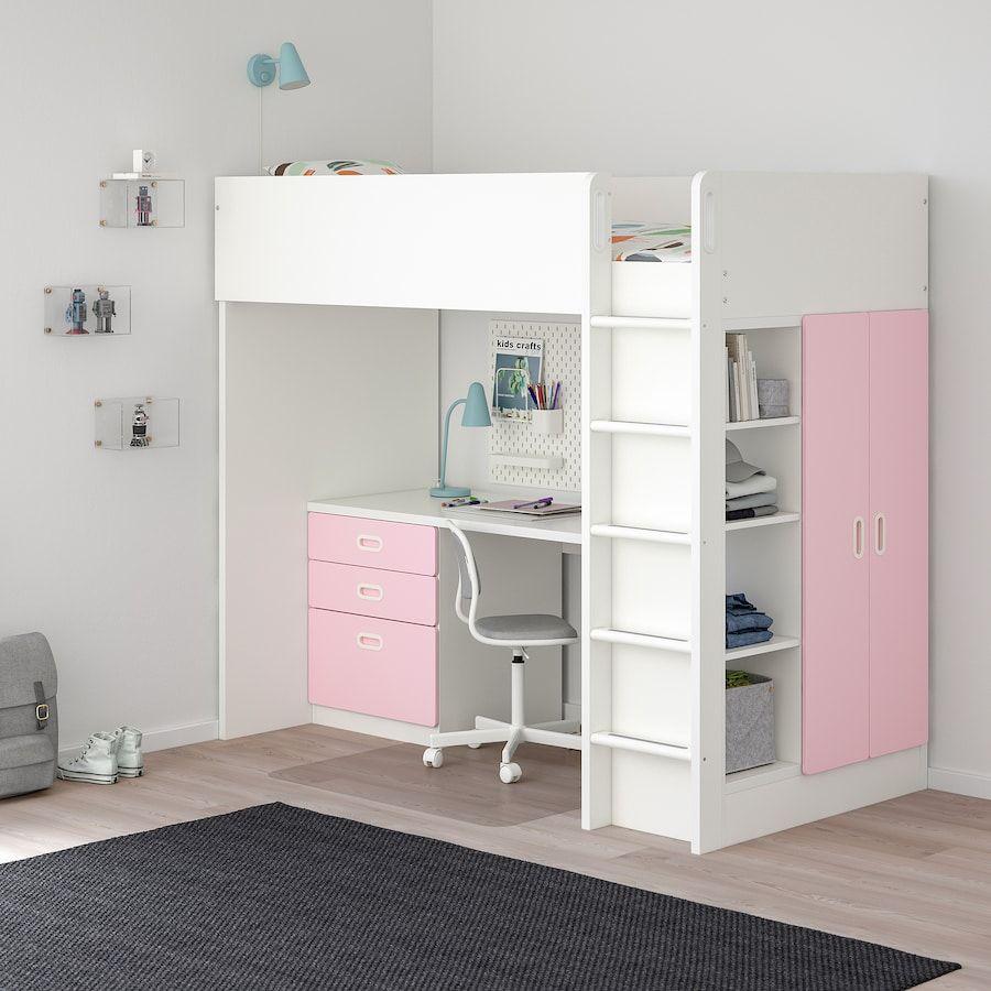 Stuva Fritids Combi Lit Mezz 3 Tir 2 Ptes Blanc Rose Clair Ikea Lits Superposes Adolescent Chambre Ado Lit Ikea Chambre Enfant
