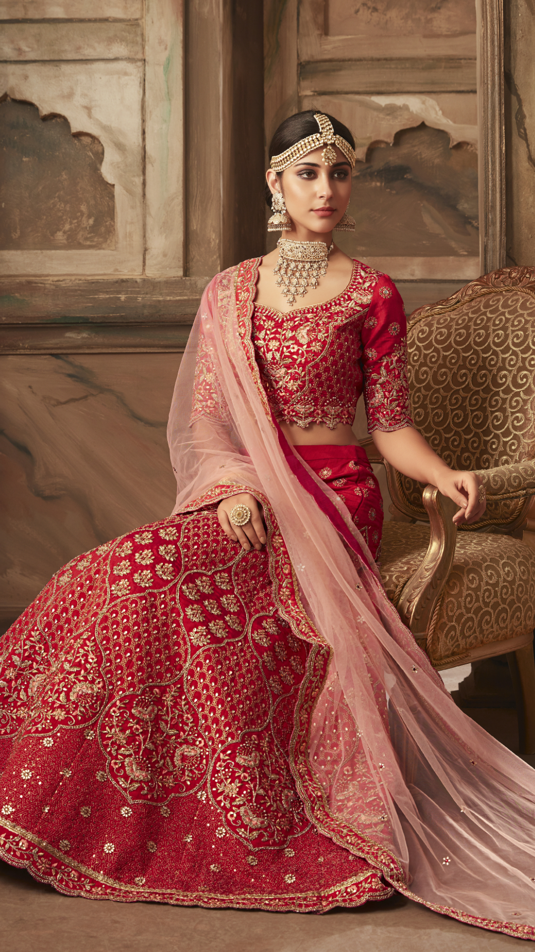 042d54892a Be your own style diva with this red banarasi silk designer lehenga choli.