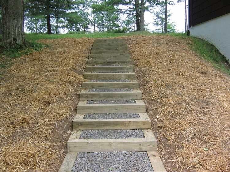 Escalier jardin bois gravier - idées pour un espace outdoor moderne ...