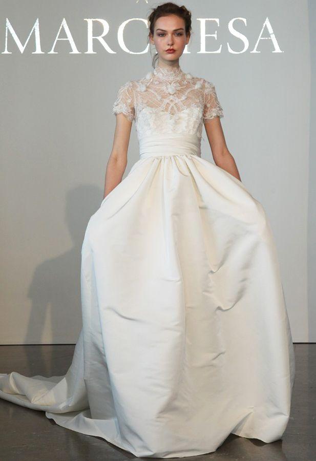High-neck wedding gown, Marchesa #Bridal Spring 2015 #Fashion ...
