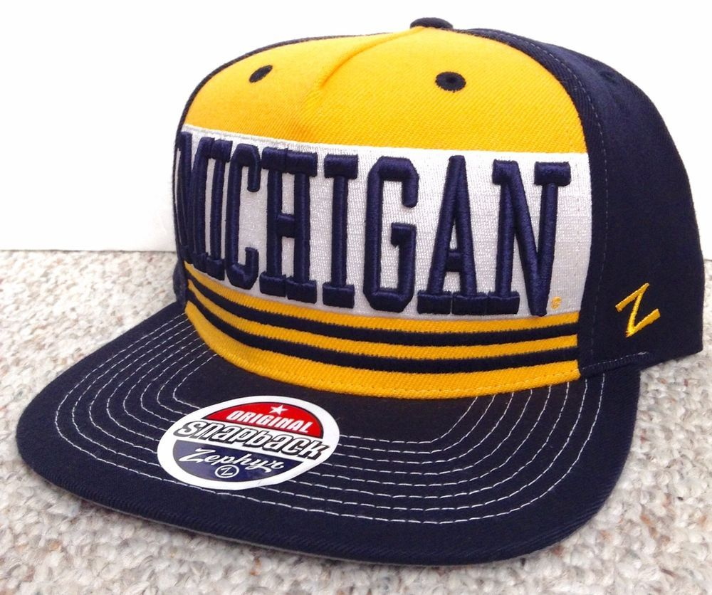 9c5ae023 New MICHIGAN WOLVERINES SNAPBACK HAT Navy-Blue/Yellow Striped Zephyr  Men/Women #Zephyr #MichiganWolverines