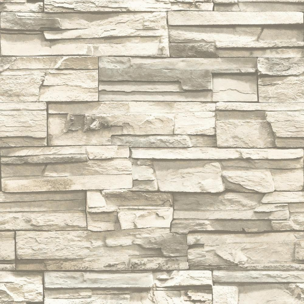 Rmk9026wp Natural Stacked Stone Peel And Stick Wallpaper Free Shipping Ebay Stacked Stone Stone Wallpaper Peel And Stick Wallpaper