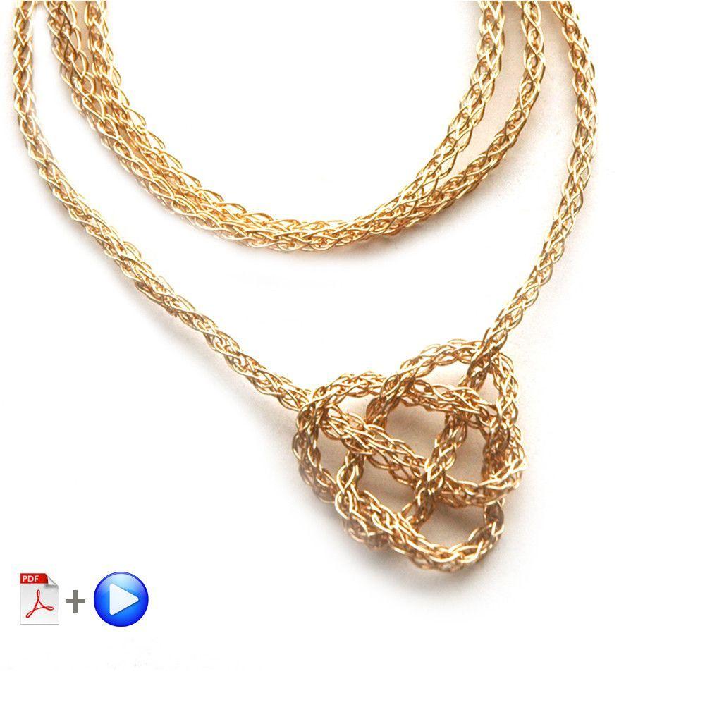 Wire Crochet Necklace - Celtic Heart Knot Necklace, a wire crochet ...